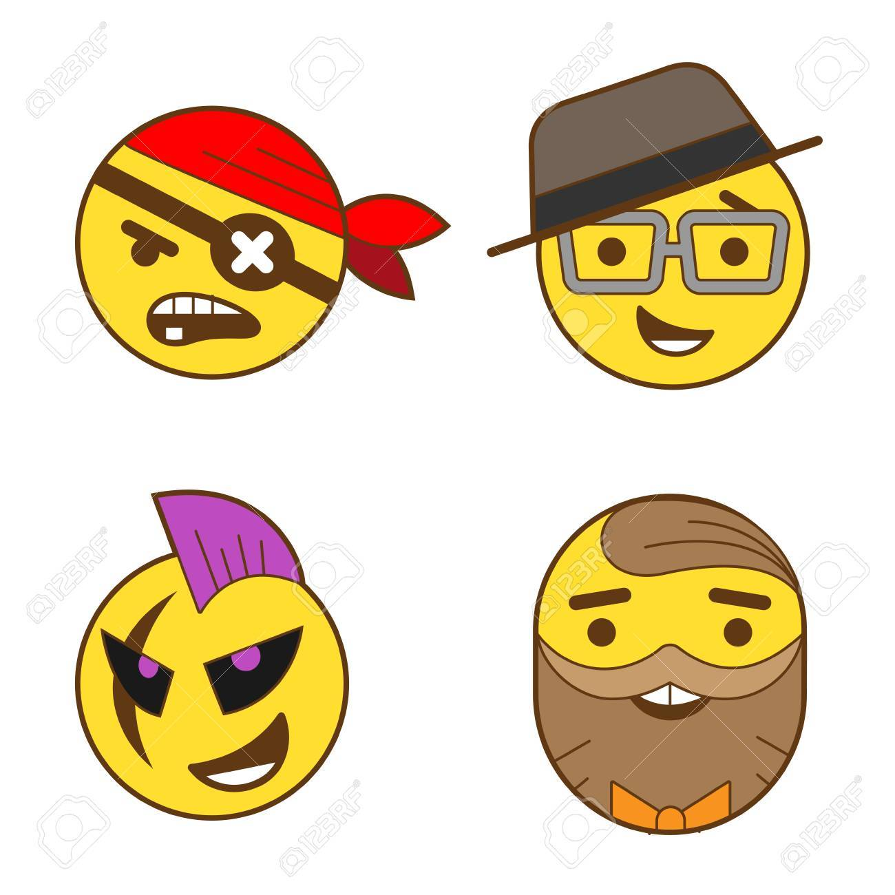 Funny Avatars faces heads vector design abstract linear style , Pirate