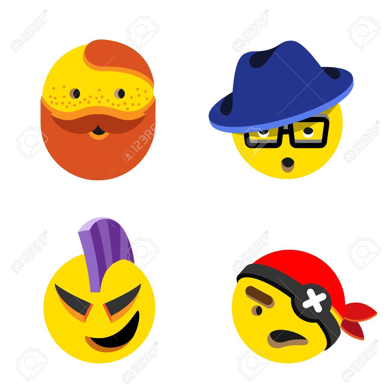 Funny Avatars faces heads vector design abstract , Pirate Gentleman