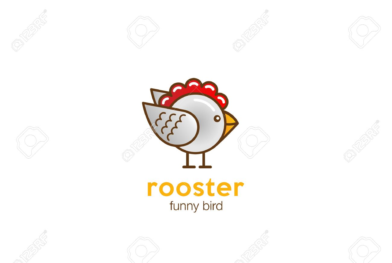funny rooster chicken bird abstract logo design vector template