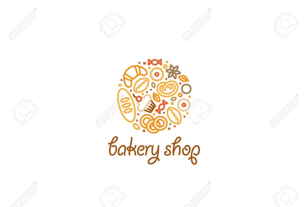 Creative Circle Bakery Shop Logo Design Vector Template Linear