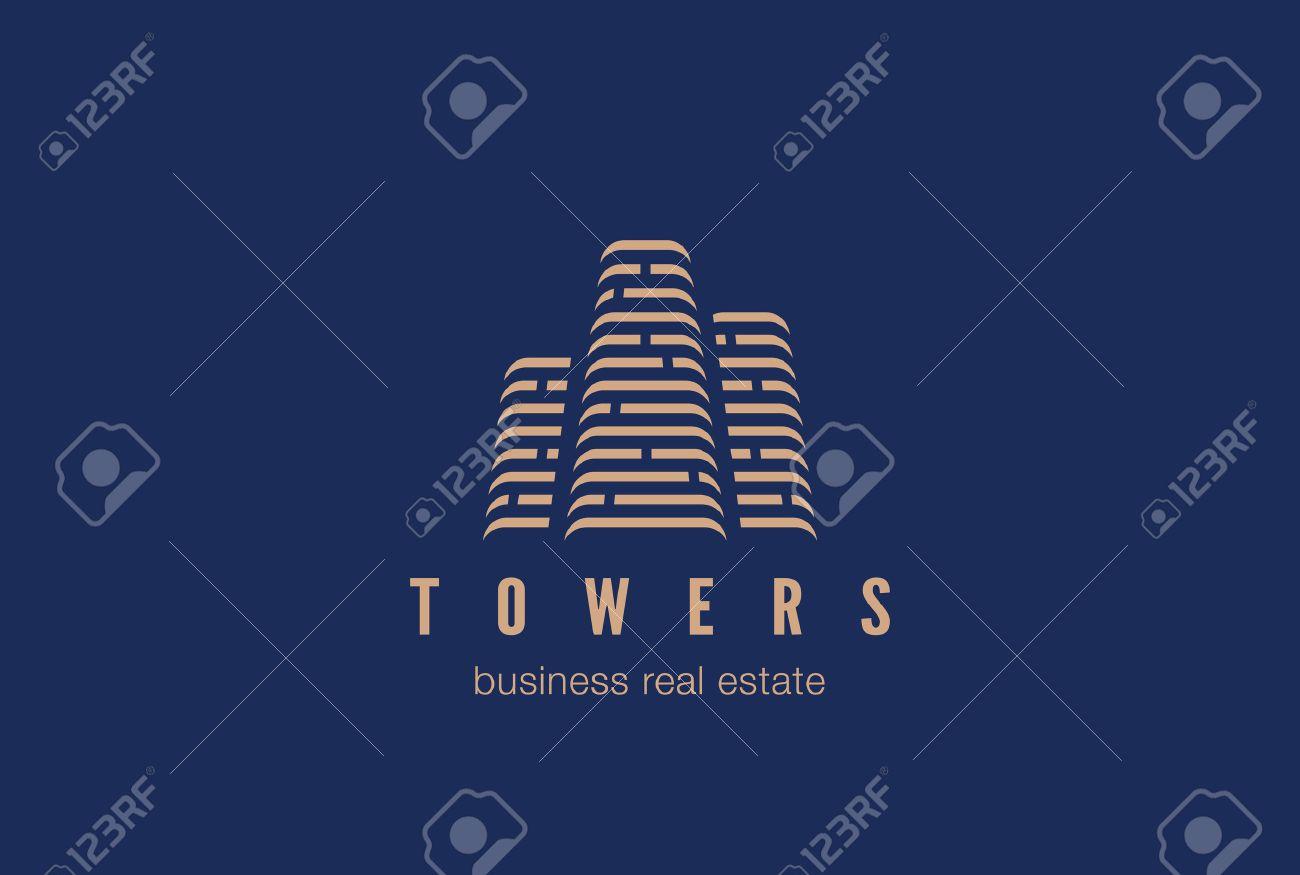 Immobilien Bau Logo-Design-Vektor-Vorlage. Wolkenkratzer Silhouette ...