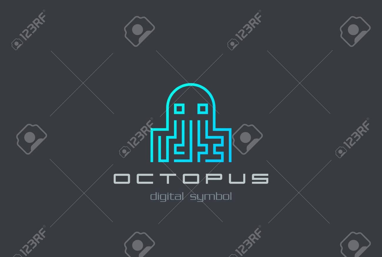 digital octopus logo shape abstract design vector template virus