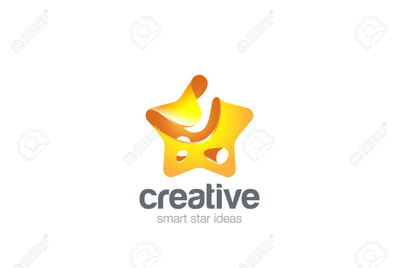 Gold Yellow Star Abstract Design Vector Template Splash Style ...