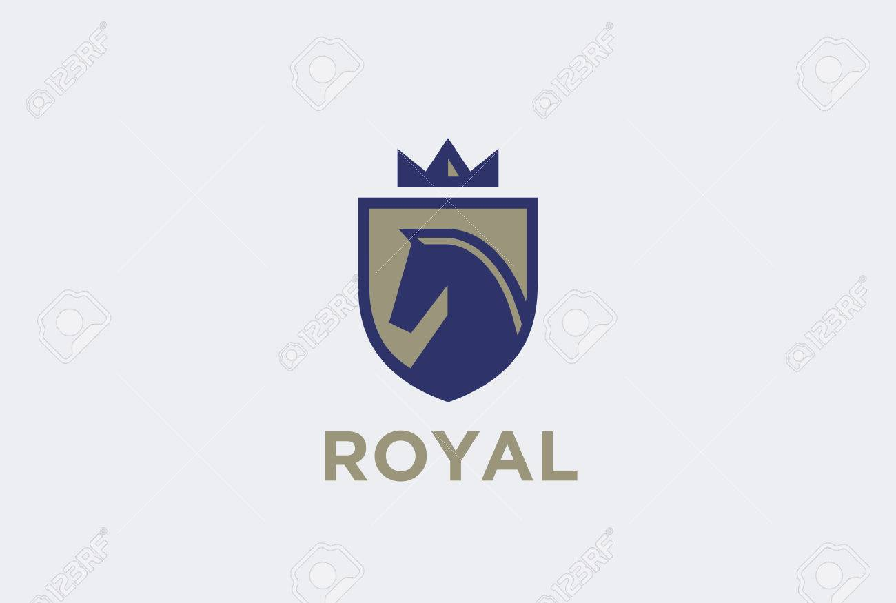 Royal Horse On Shield With Crown Logo Design Vector Template Equestrian Royalty Free Cliparts Vectors And Stock Illustration Image 54196687