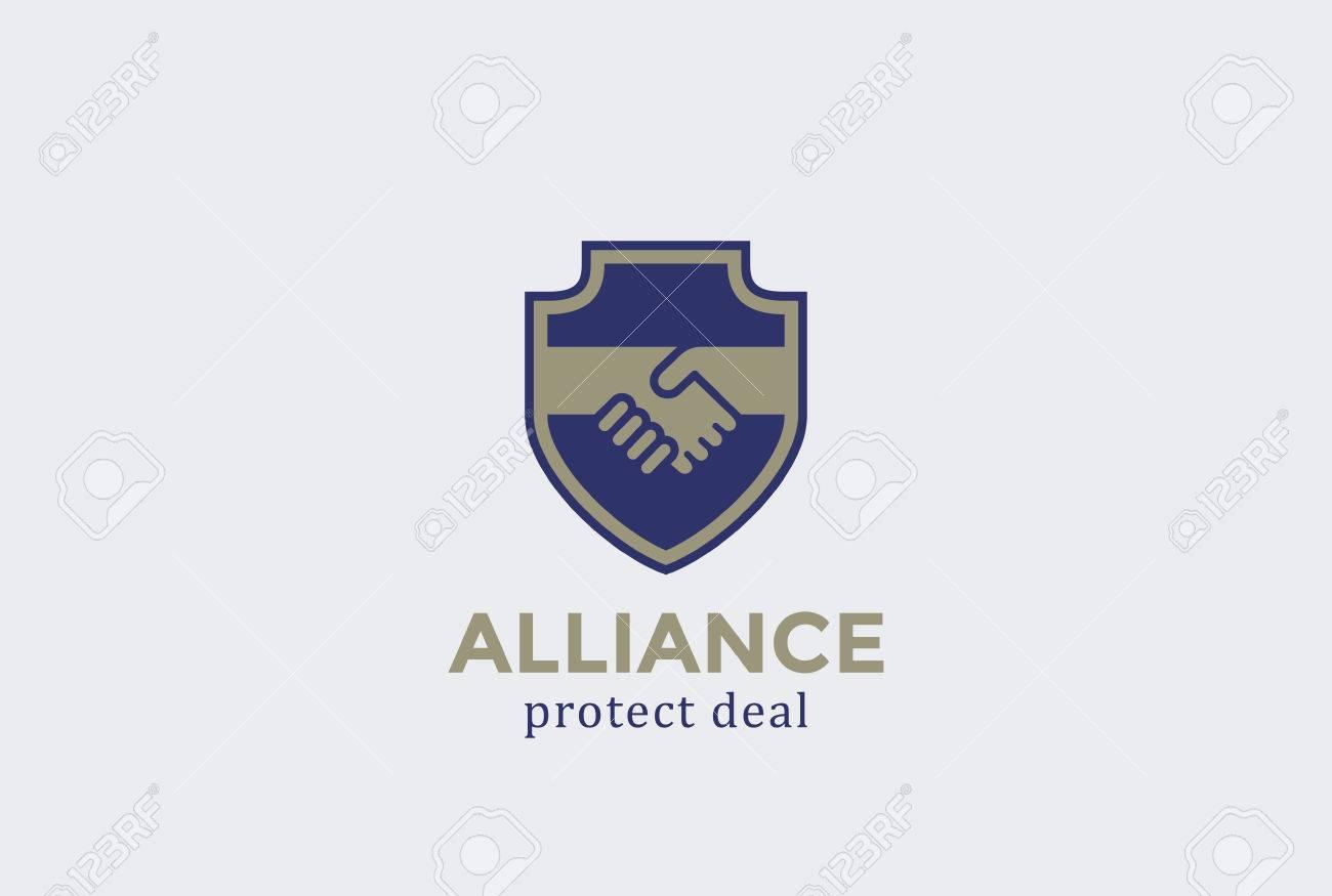 Schild Schützen Vorlage Deal Handshake Logo-Design-Vektor ...