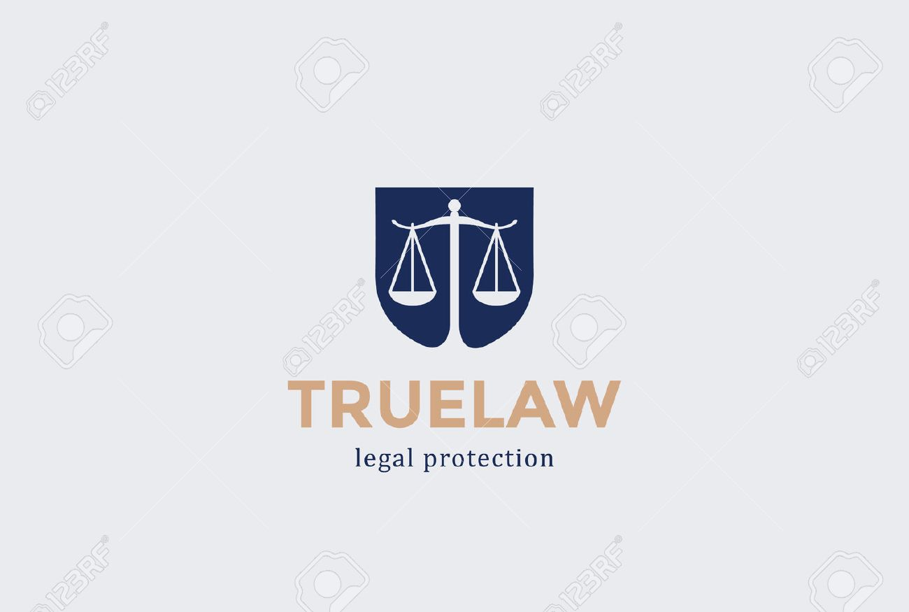 scales shield law firm logo design vector template negative space