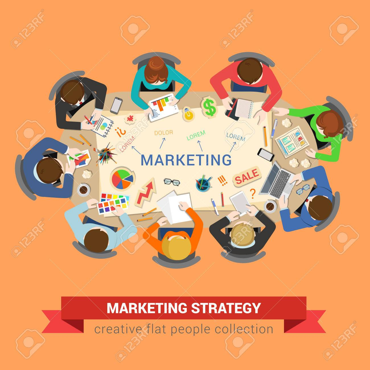 Marketing sale brainstorm concept round office table top view round office table top view business flat web infographic concept vector staff around table chart bar circle diagram graphic creative people collection ccuart Images