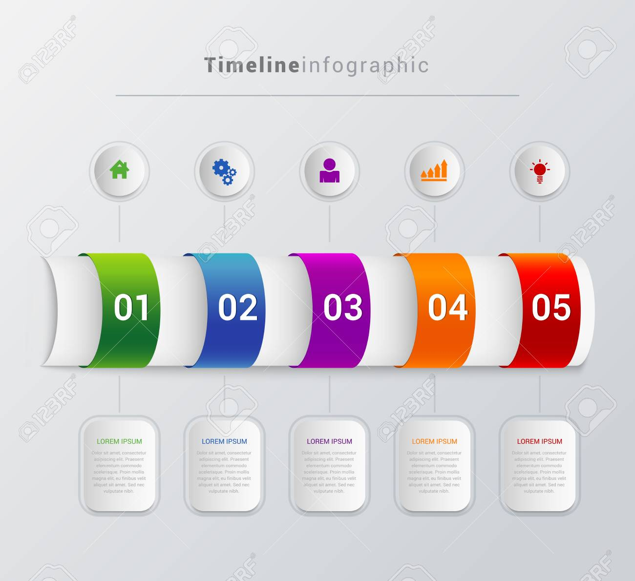 simple stylish multicolor tube timeline 5 steps with icon label