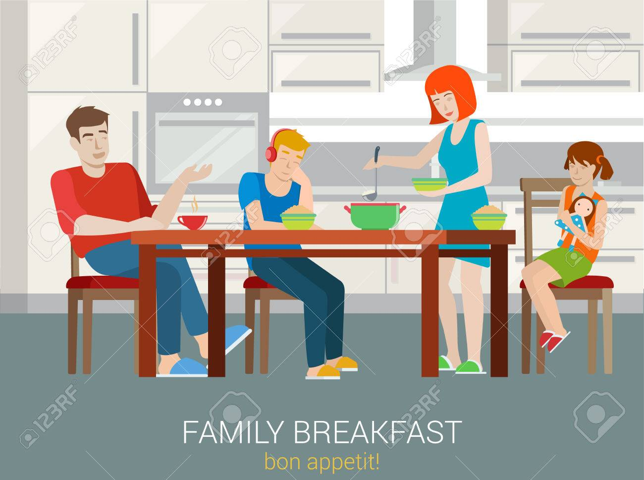 Flat style family breakfast concept. Parents children sitting kitchen table woman porridge impose into bowl plate. Mother father sister brother son daughter. Creative people collection. - 54534523
