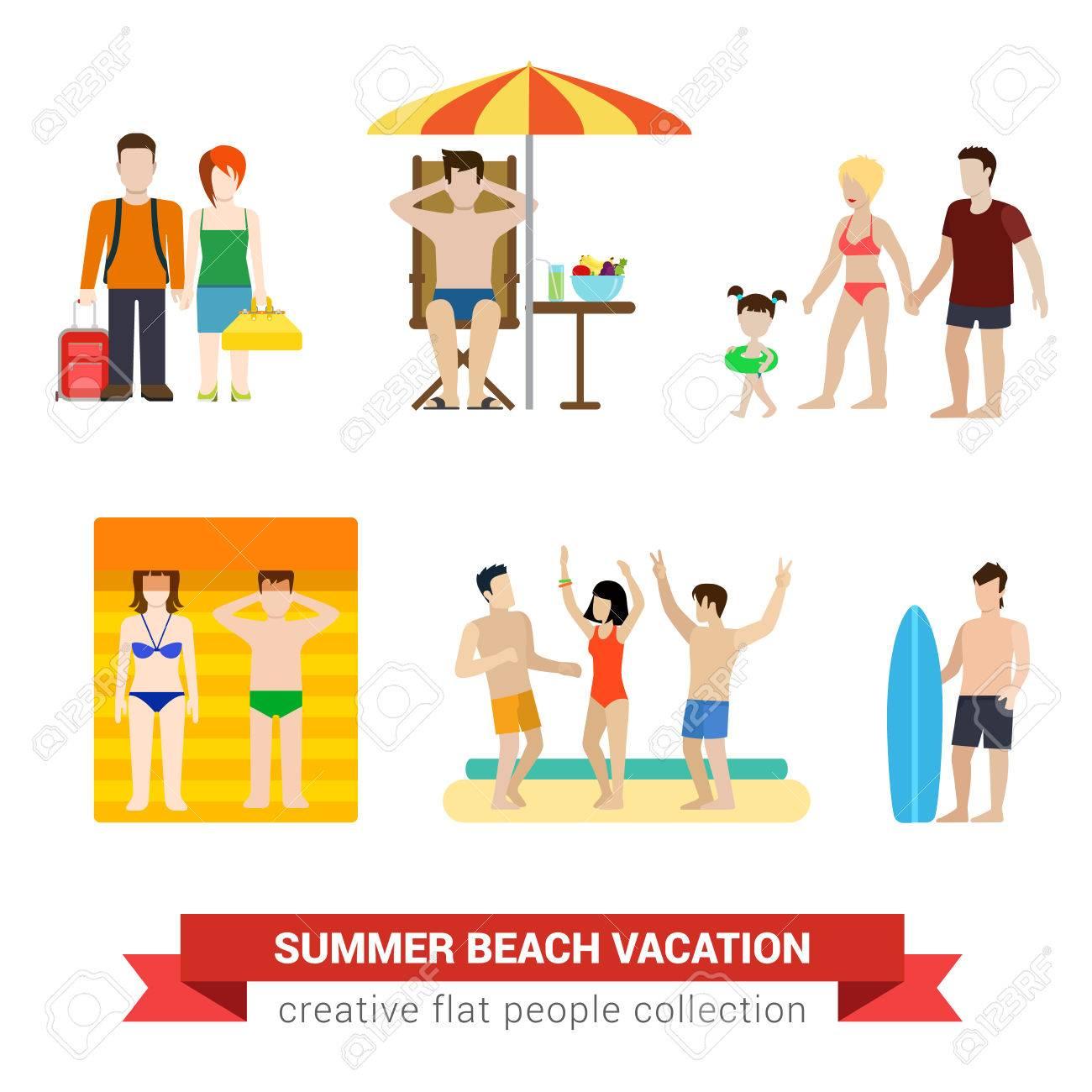 Flat style moderne plage vacances personnes famille modèle de mode de vie  modèle infographique vecteur ensemble d\'icônes. Couple voyageur sol salon  ...