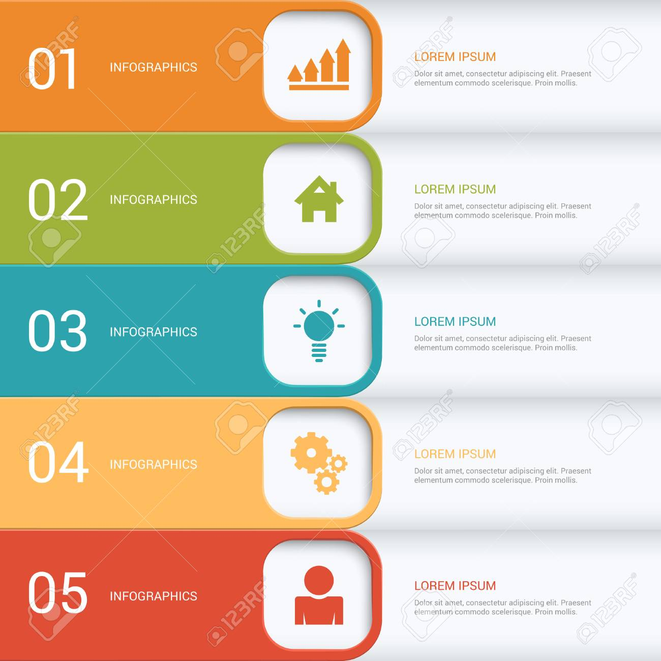 simple multicolor 5 step process steps labels infographics mockup