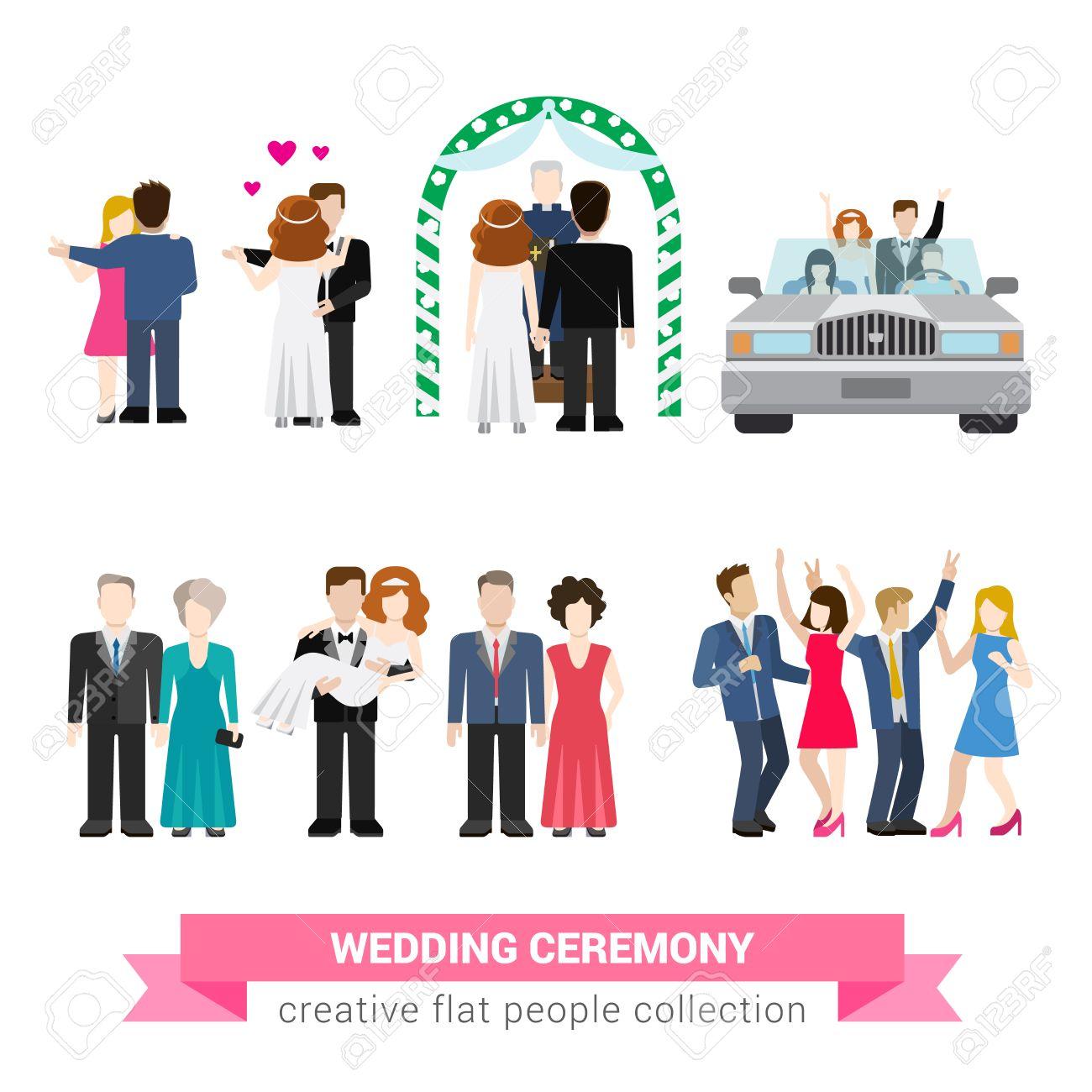 Super wedding ceremony marriage flat style infographic icon people set. Newlyweds wife husband bride groom dance guests groomsman bridesman usher honeymoon. Creative conceptual illustration collection - 54534869