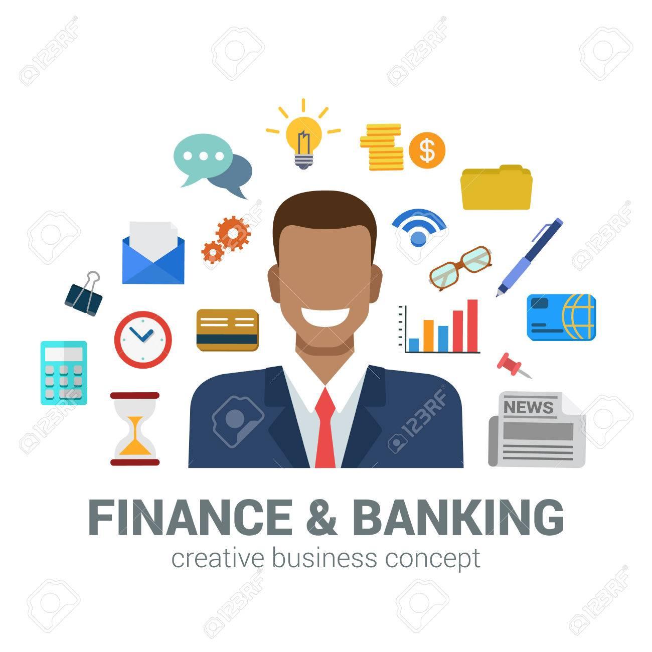 Le Style Plat Bancaire Et Le Concept De La Finance Bonne Souriant