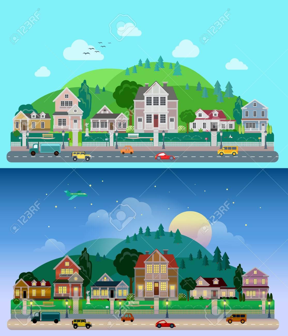 Piso Ciudad De Dibujos Animados Suburbio Establece El Día Y La Noche