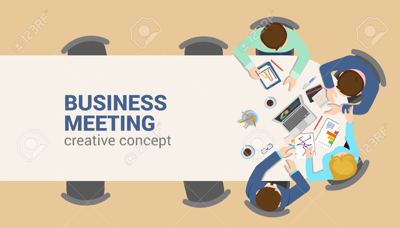 Office table top view business meeting flat web infographic concept vector. Staff table report analytics working tablet laptop empty background. Brainstorm report planning. Creative people collection. Stock Vector - 54620554
