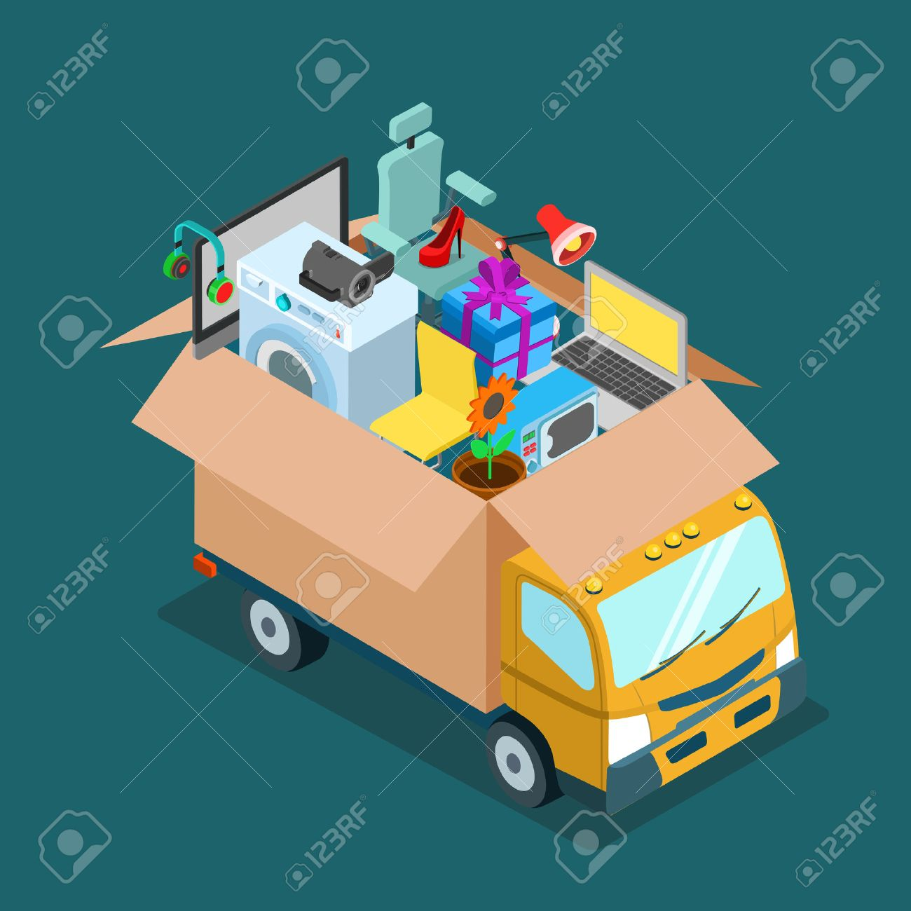Flat 3d isometric online internet web shopping delivery or home office moving concept. Mover van car lorry with open deliver box full of electronics goods gift present. Website conceptual infogaphics. Stock Vector - 54620557