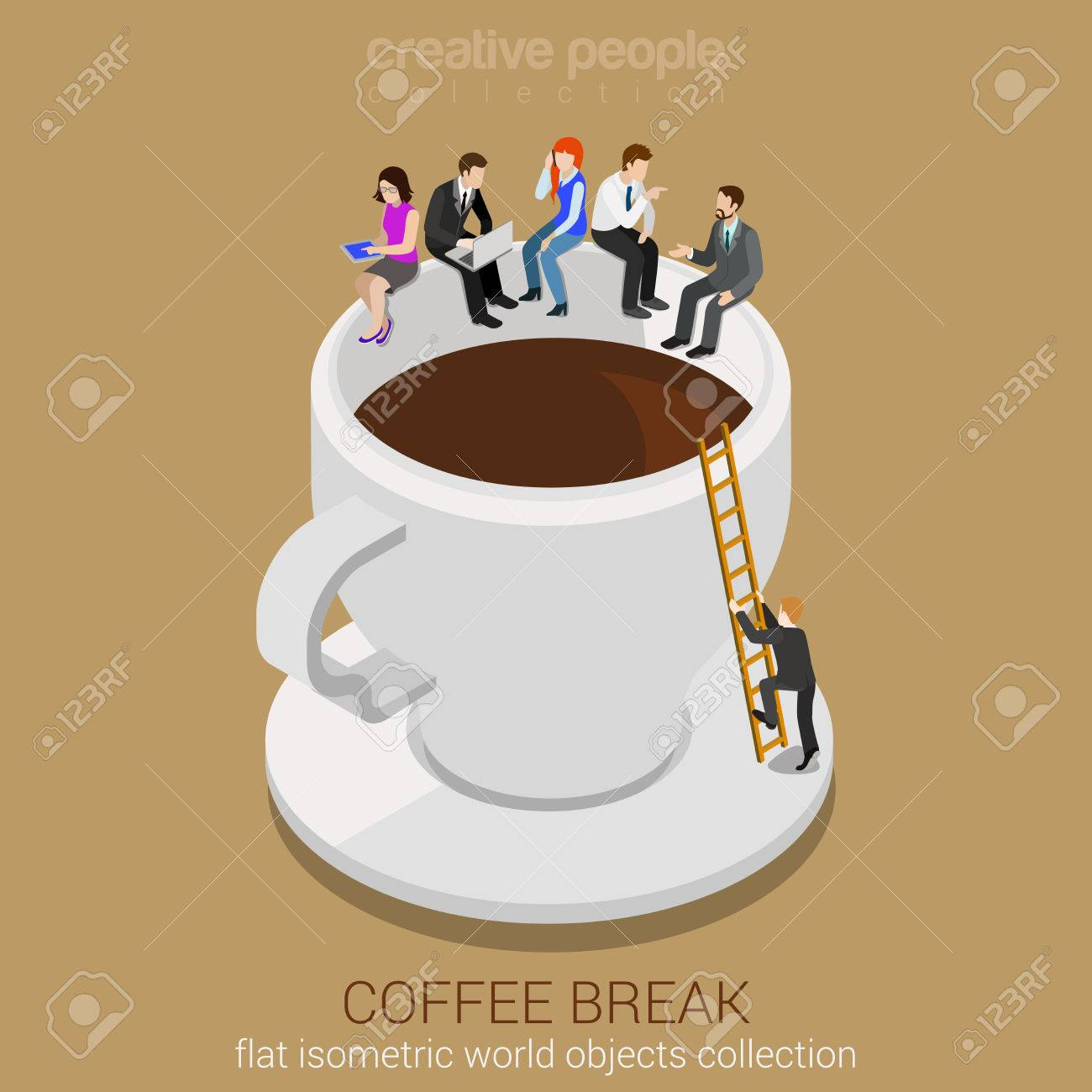 Coffee break concept flat 3d web isometric infographic vector. Business casual businesspeople sitting on huge coffee cup edge. Man climbing up ladder. Creative people collection. - 54626427