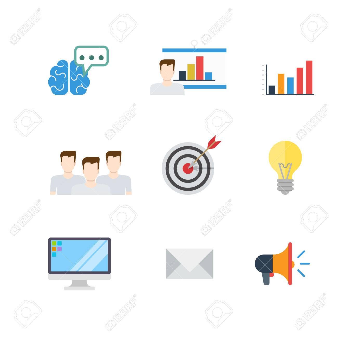 Flat Creative Digital Marketing PR SEO Infographic Target Email ...