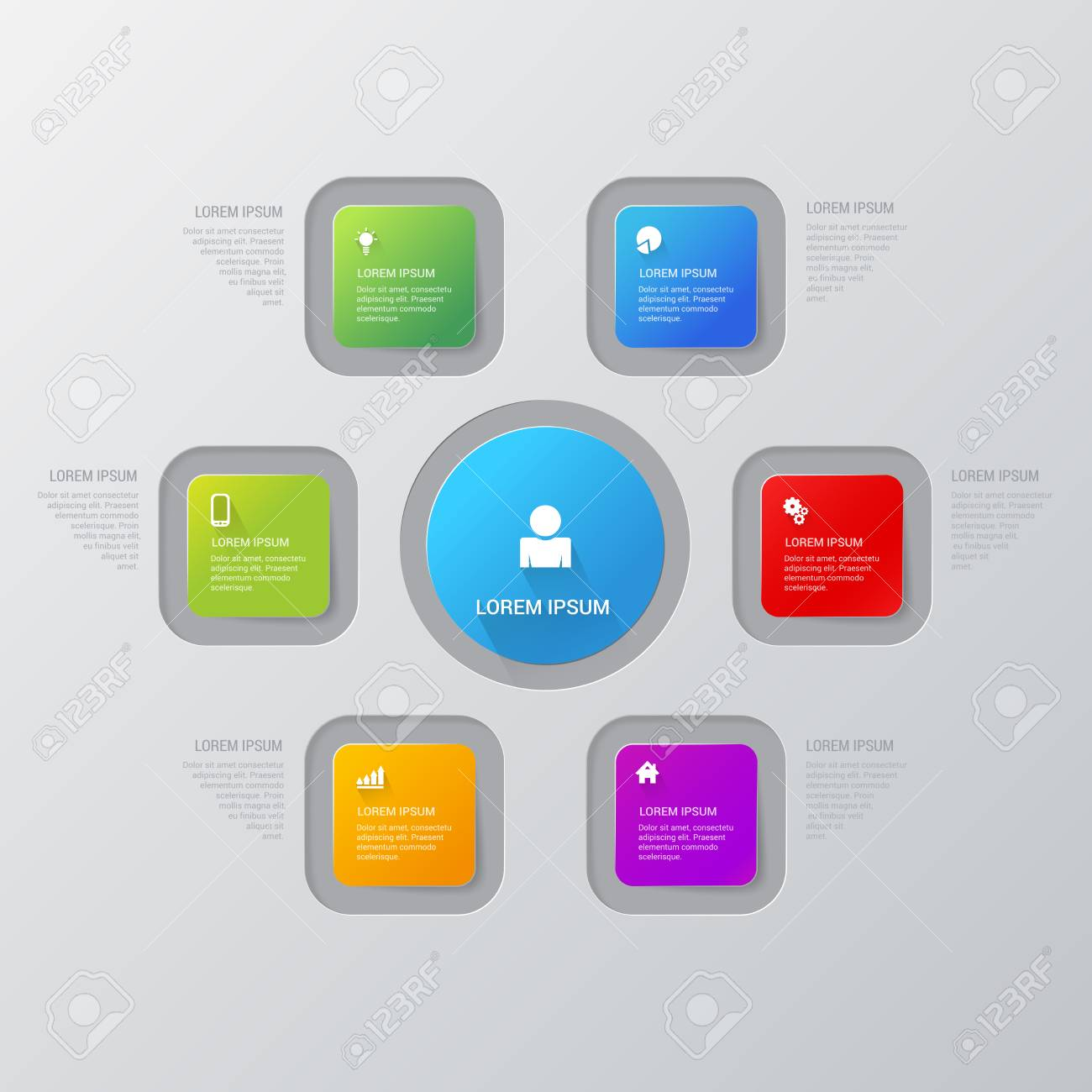 simple multicolor 6 step rectangle process steps labels infographics