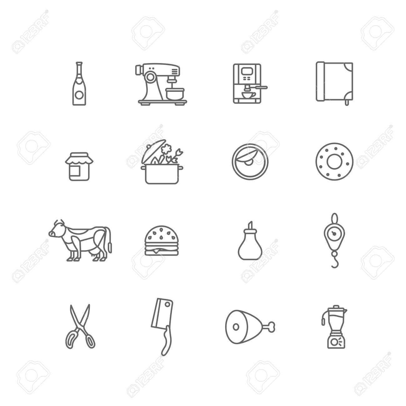 Kitchen Stuff Cooking And Food Icons Lineart Design Vector Set ...