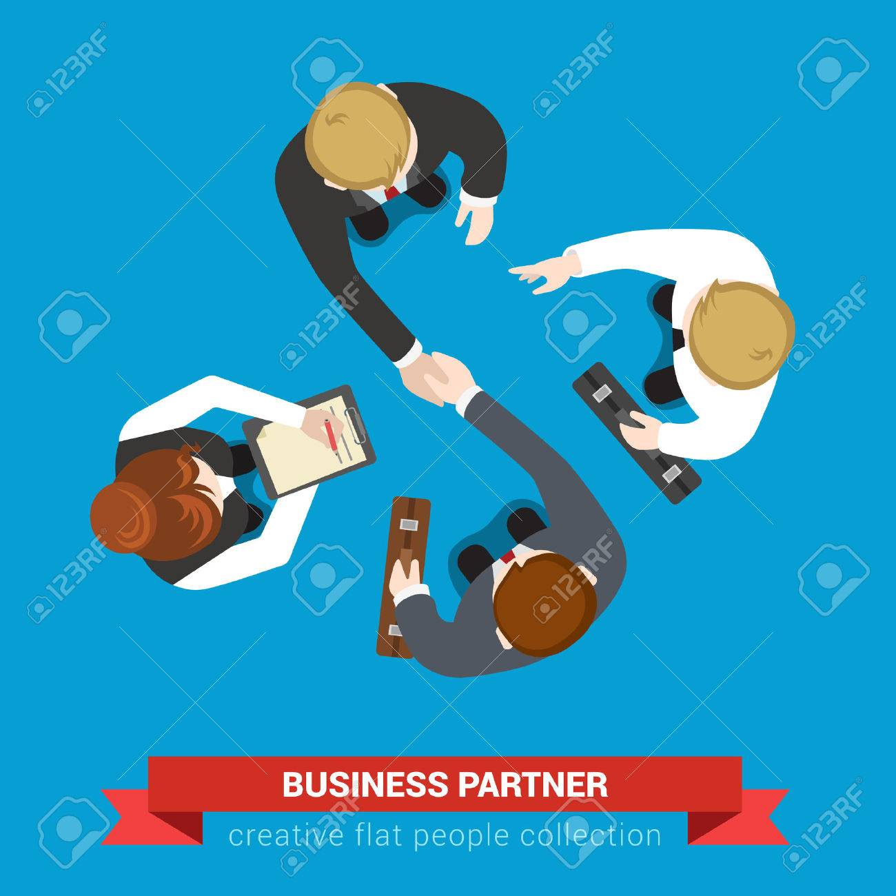 Business partner handshake deal contract meeting. Top view flat web infographic concept vector. Businessmen and assistants. Creative people collection. Stock Vector - 54636002