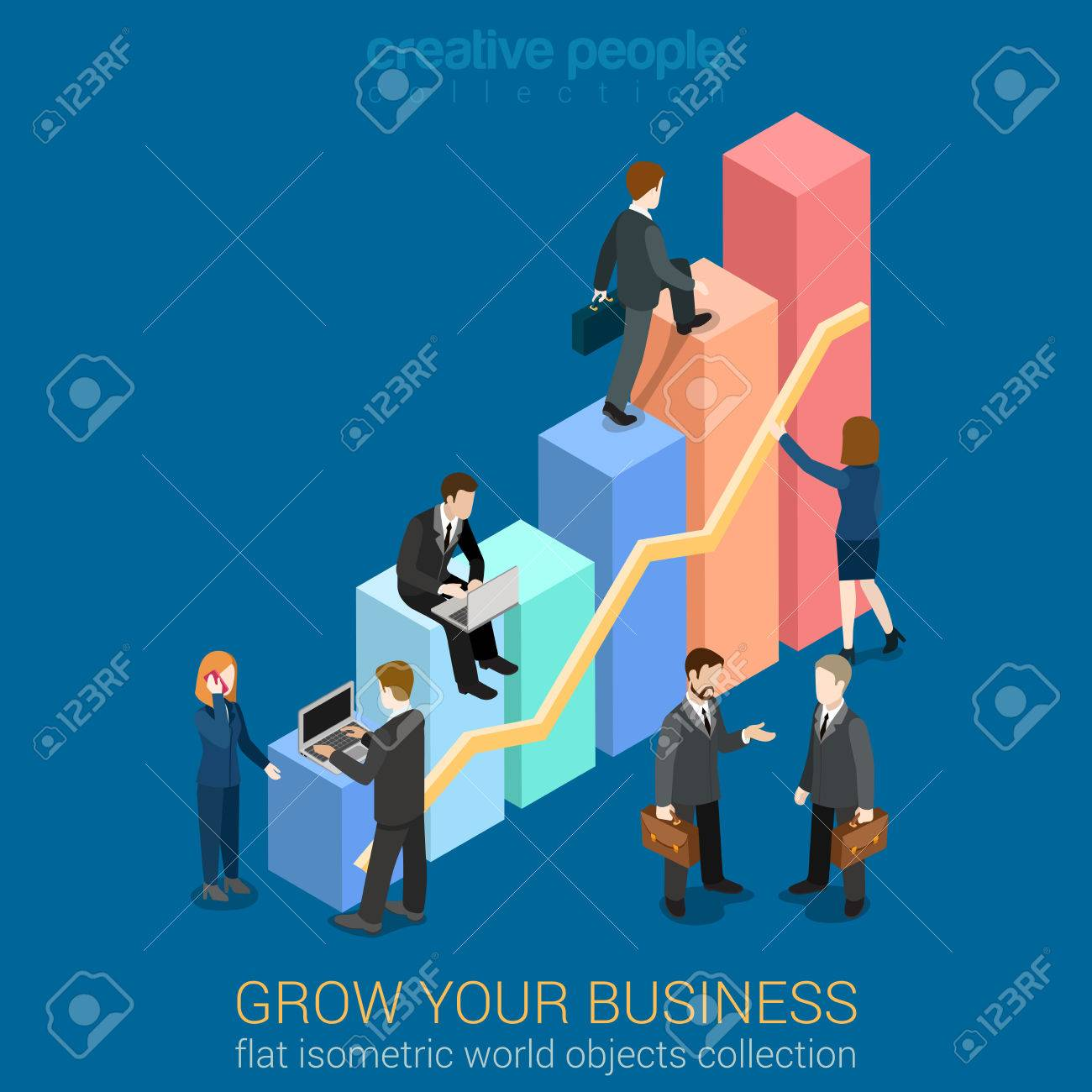 Growing Business infographics template concept flat 3d web isometric vector. Businessmen working to charts grow up. Creative people collection. Build your infographic. Stock Vector - 54638537