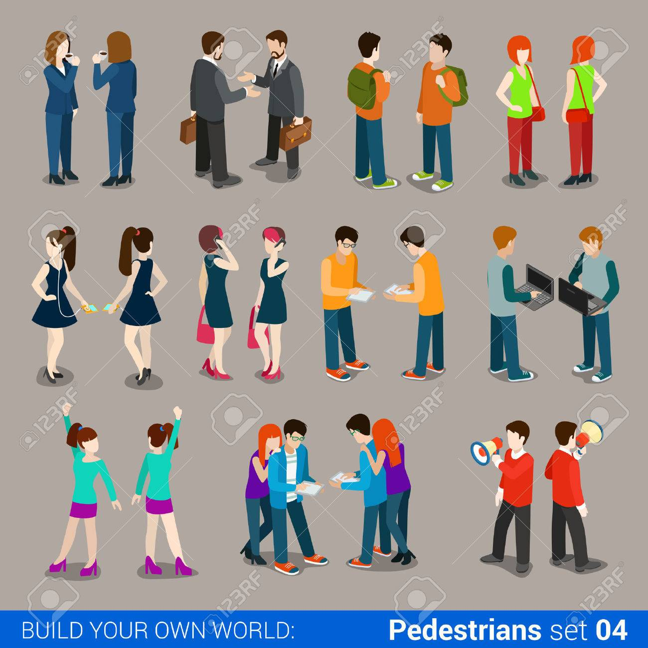 Flat 3d isometric high quality city pedestrians icon set. Business people, casual, teens, couples. Build your own world web infographic collection. Stock Vector - 54641264