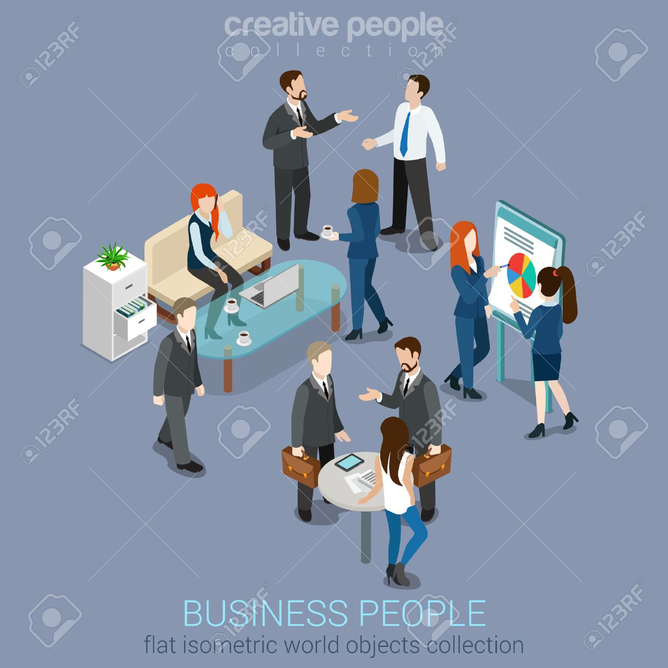 Flat 3d web isometric office room interior businessmen collaboration teamwork brainstorming waiting meeting negotiation infographic concept vector set. Creative people collection Stock Vector - 54641274