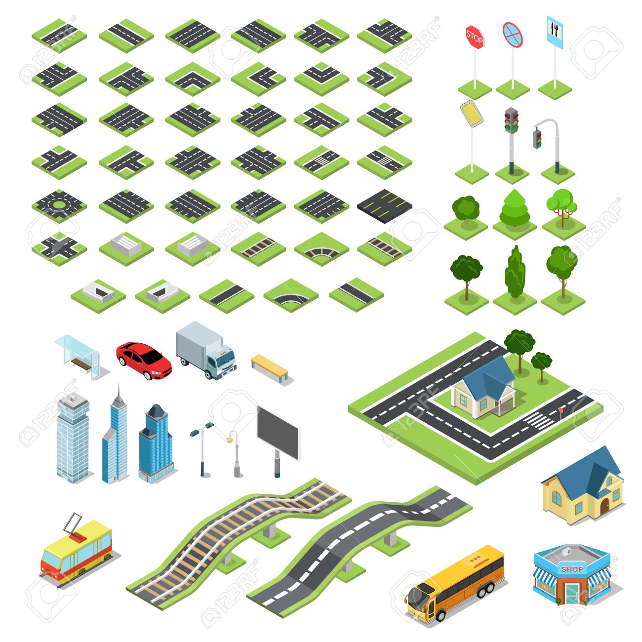 Flat 3d isometric street road sign building blocks infographic concept set. Crossroad railway fountain traffic light lantern skyscraper tram bus shop. Build your own infographics world collection. Stock Vector - 54641278