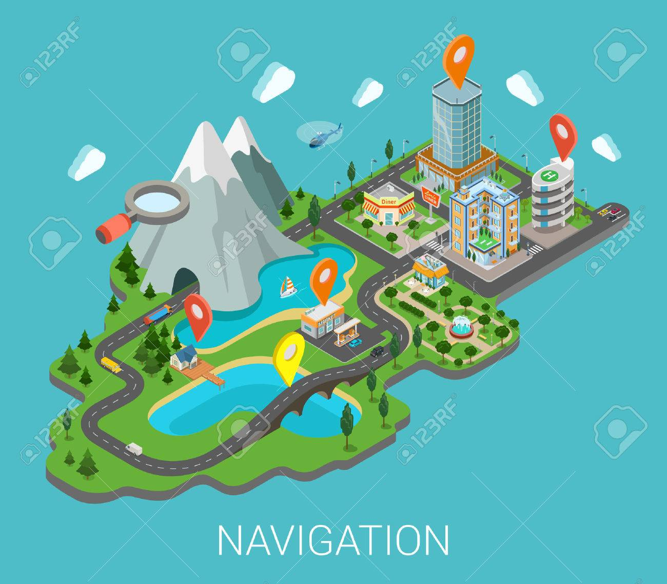 Flat 3d isometric map mobile GPS navigation app infographic concept. City countryside lake mountain gas station park restaurant bridge hotel shopping mall route pin markers. Navigate info graphics. - 54642384