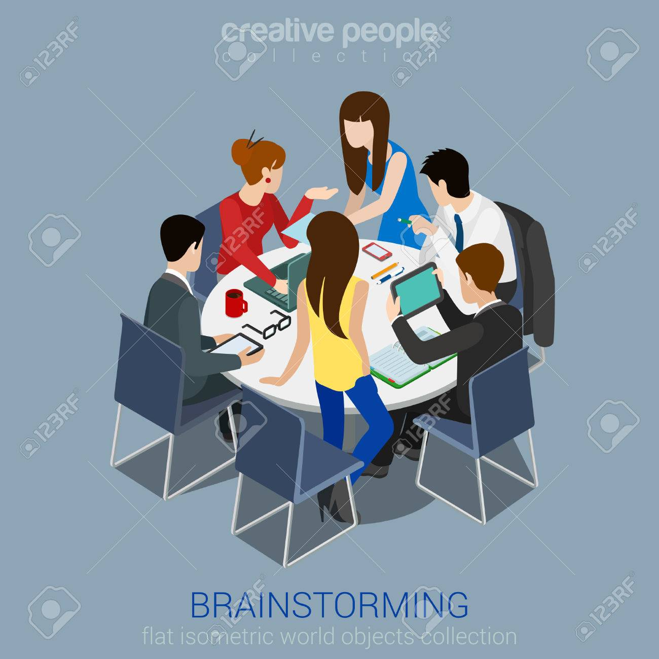 Brainstorming creative team idea discussion people flat 3d web isometric infographic concept vector. Teamwork staff around table laptop chief art director designer programmer. Stock Vector - 54642388