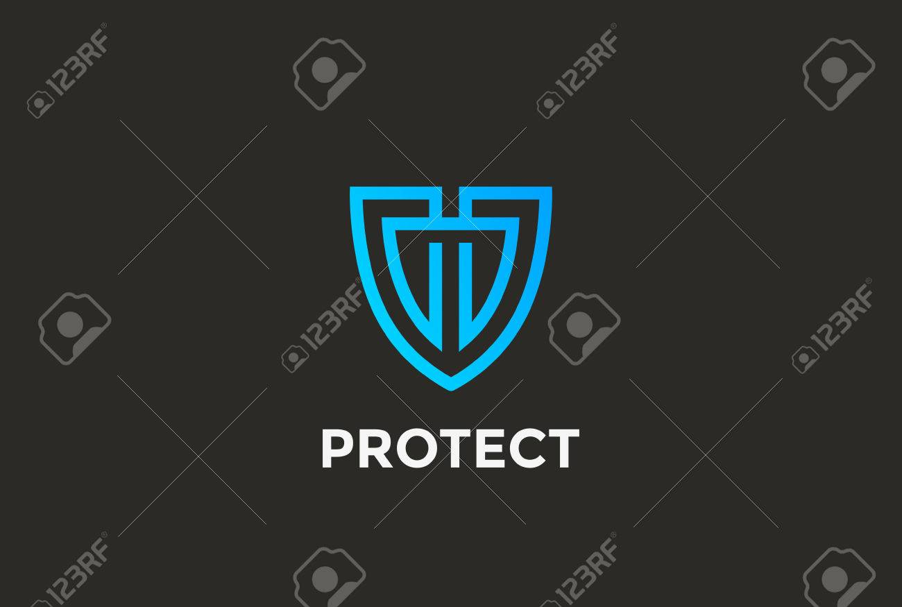 Security Agency Shield Logo design vector template linear style. Attorney Looped Lines Lawyer Legal Protection Logotype. Law concept icon. Stock Vector - 57372409