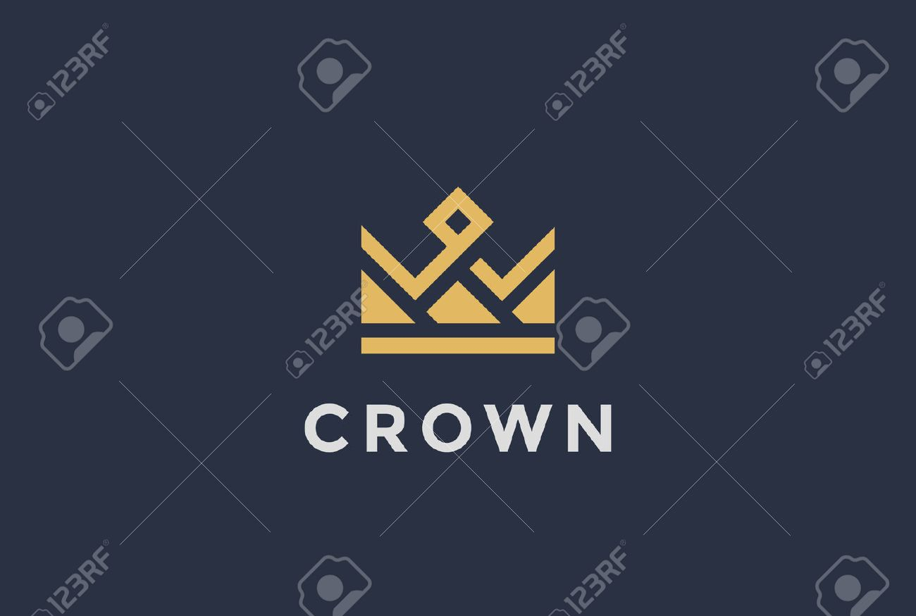 Geometric Crown abstract Logo design vector template.Vintage Royal King Queen symbol Logotype concept icon. - 57372417