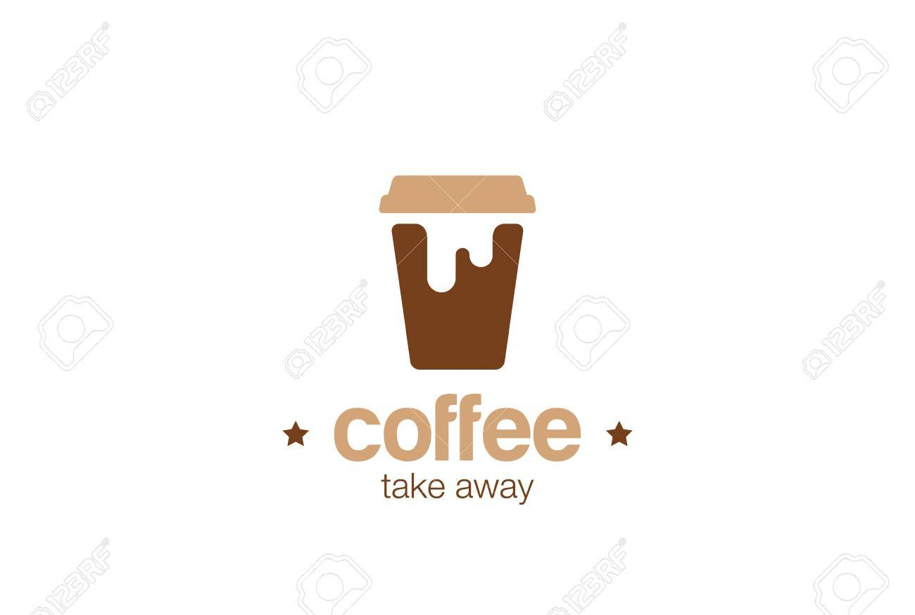 coffee take away paper cup logo design vector template negative