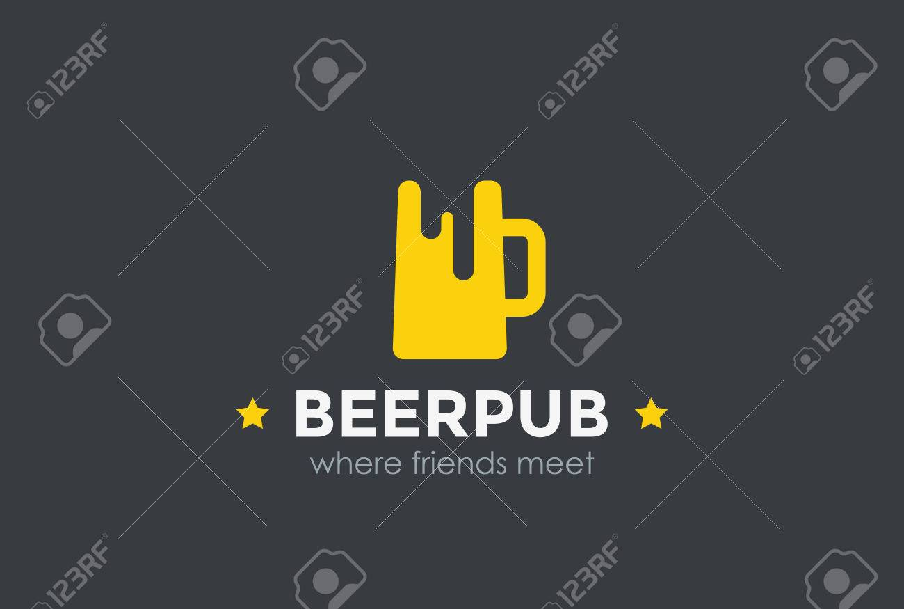 Beer Mug Silhouette Design Vector Template Negative Space Bar