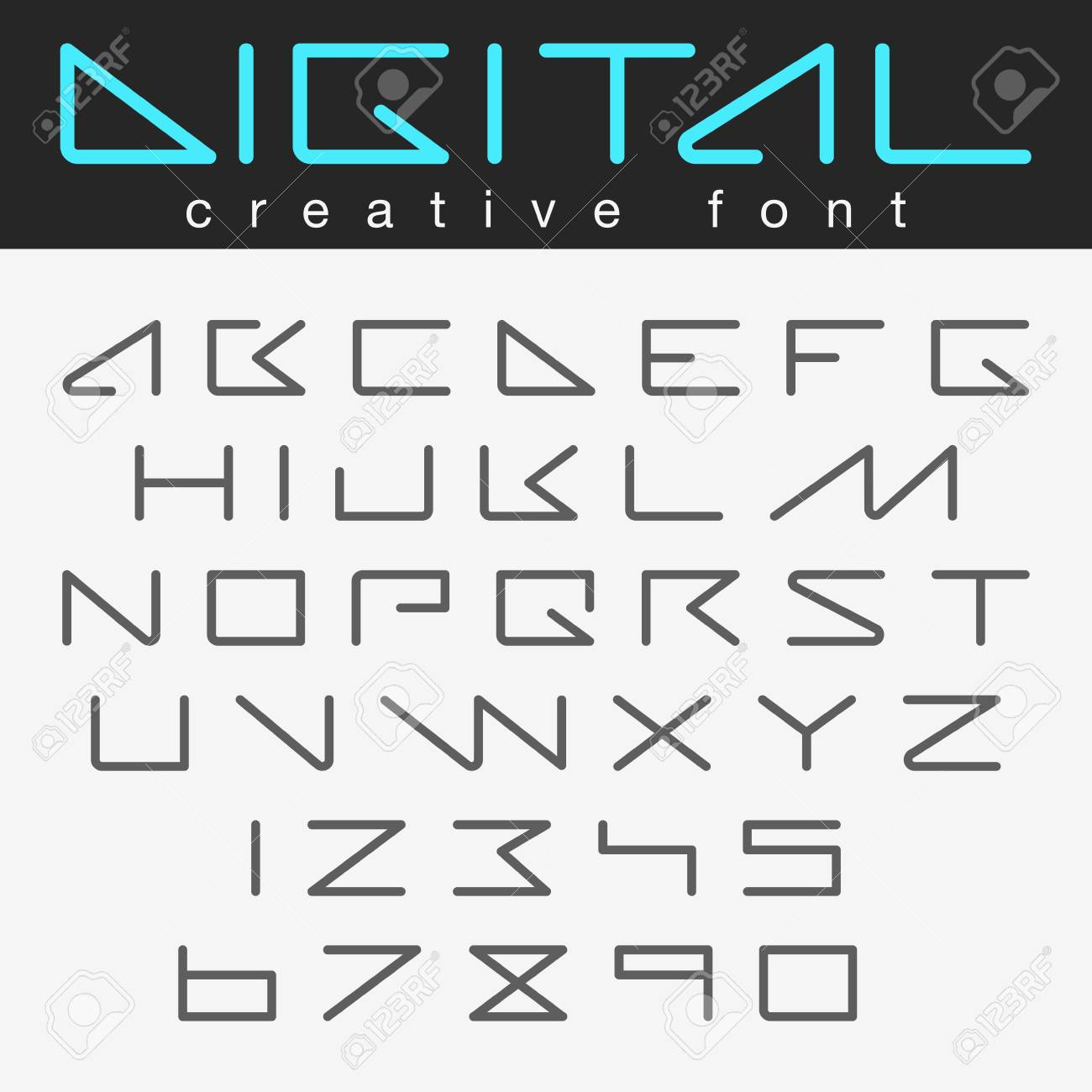 Digital Robot Futuristic Font Vector Design Robotic Future