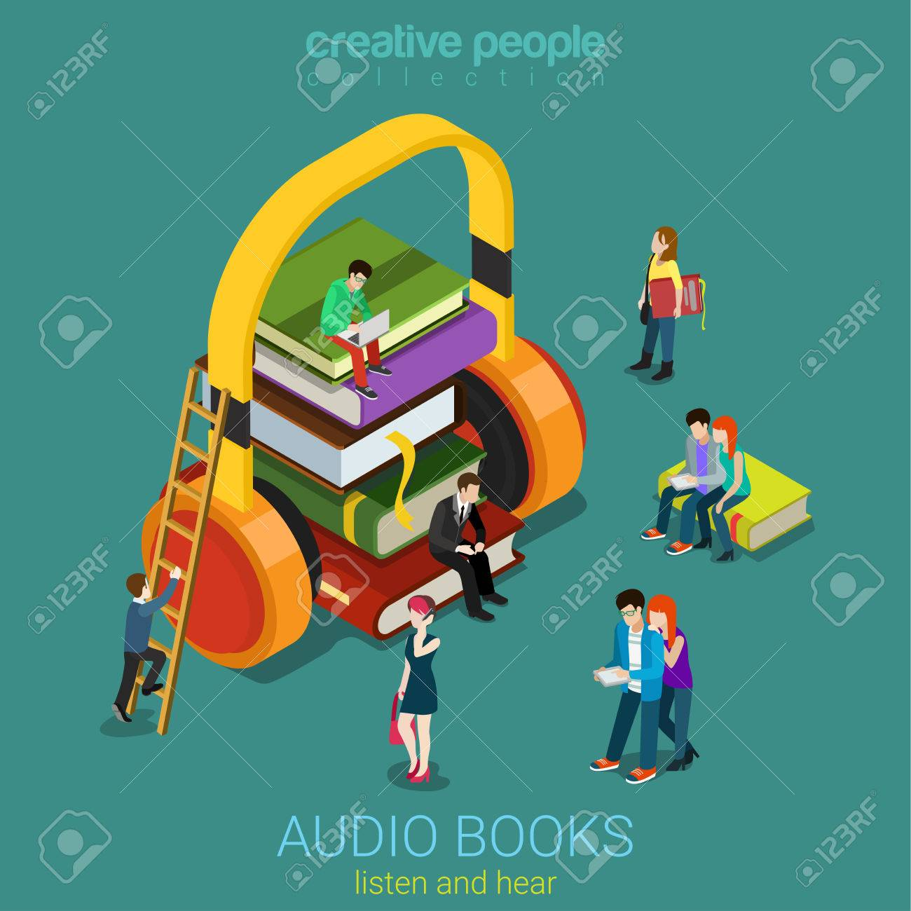 Audio books flat 3d isometric electronic library concept. Micro people on  pile of books listening