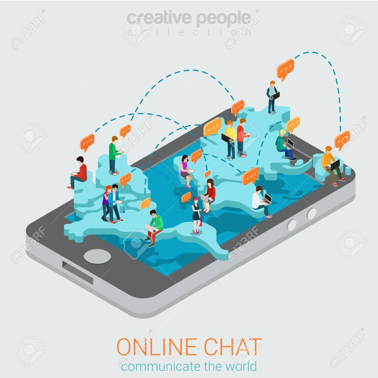 Online chat flat 3d isometric concept  Big smartphone world map