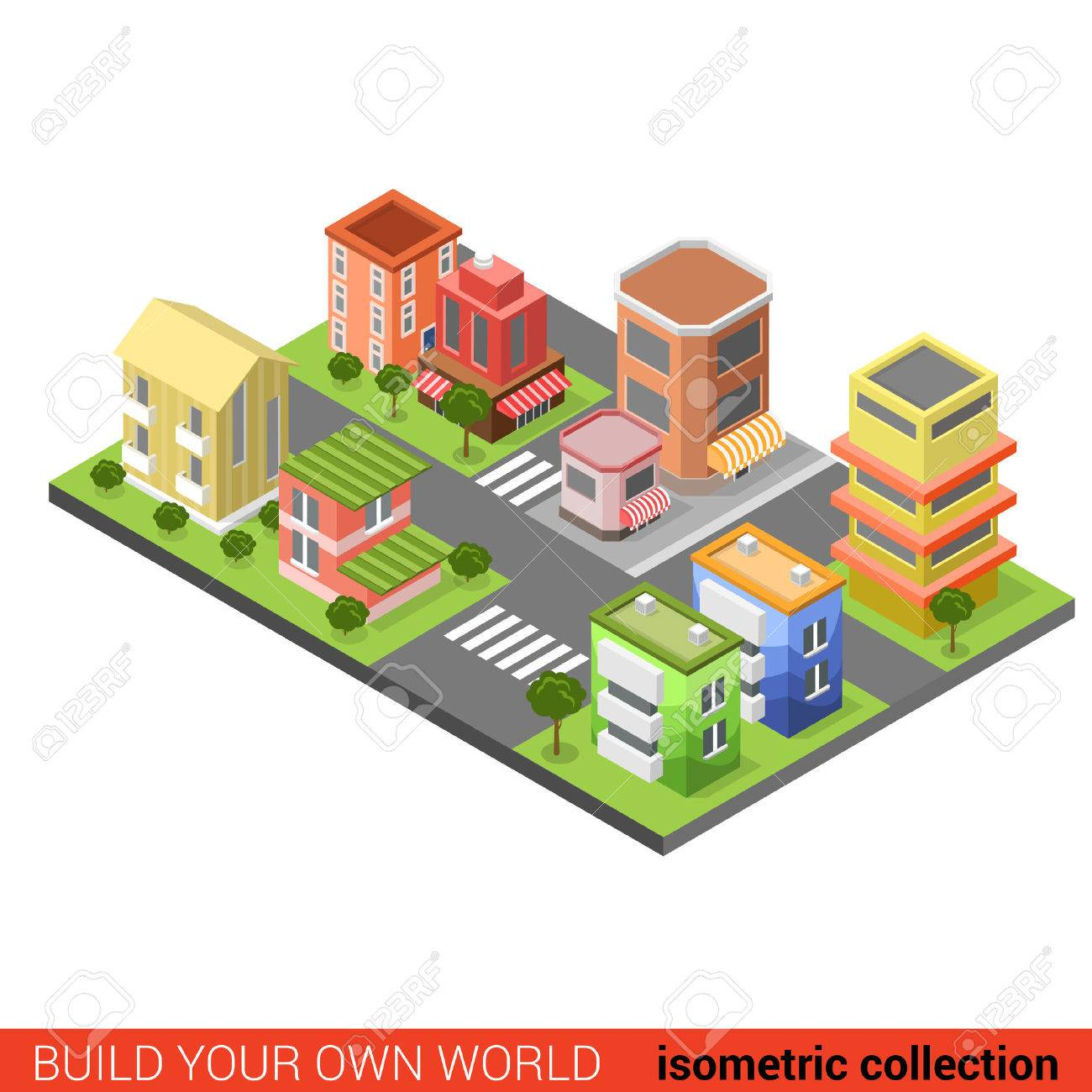 Flat 3d isometric city street cross building block infographic