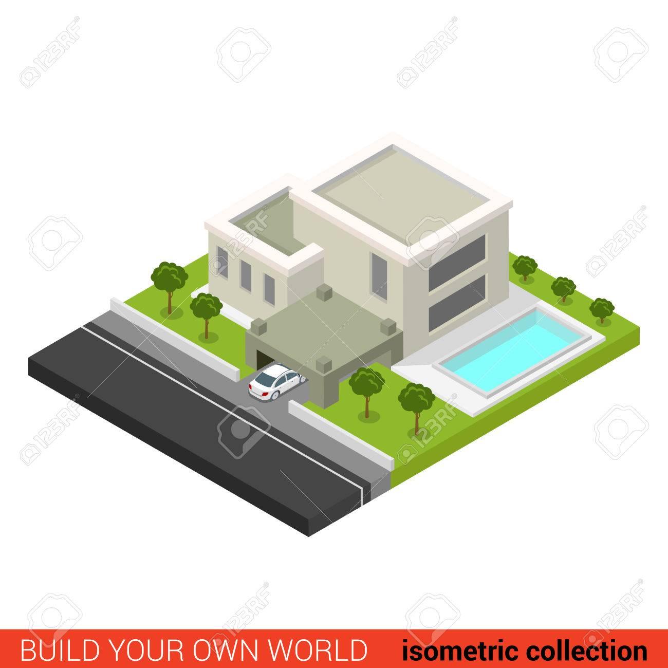 Flat 3d Isometric Creative Modern Stylish Family House Car Parking Backyard  Pool Building Block Info Graphic