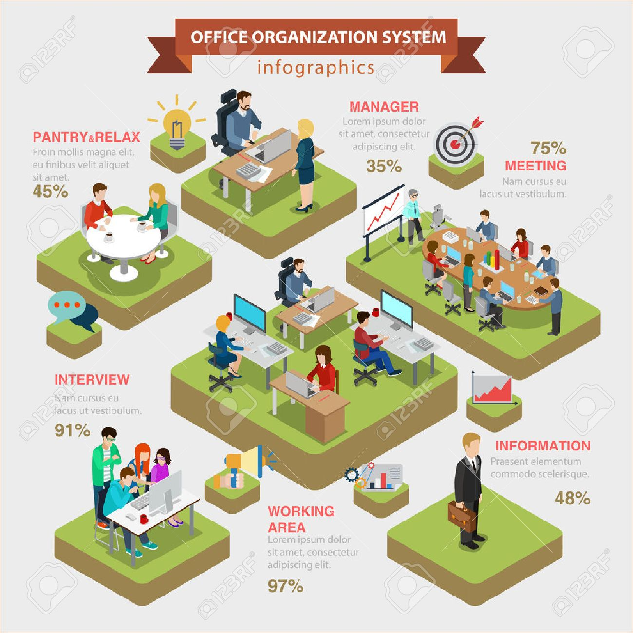 Office organization system structure flat 3d isometric style thematic infographics concept. Manager meeting information interview working area info graphic. Conceptual web site infographic collection. Standard-Bild - 56909516