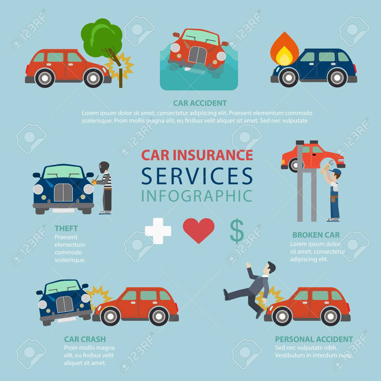 Car Insurance Service Flat Style Thematic Infographics Concept