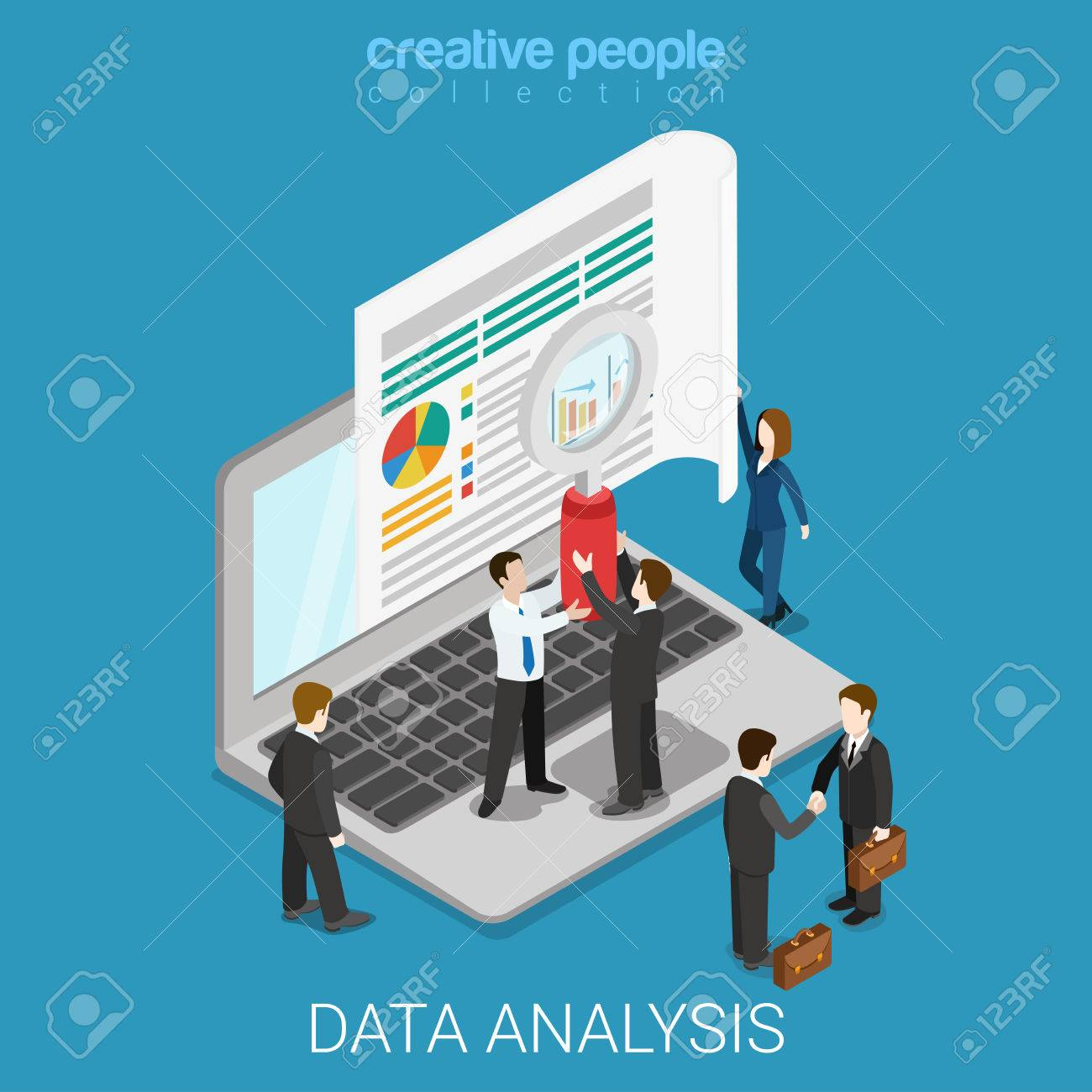 Flat 3d isometric online data analysis web infographics concept. Micro people hold magnifier before big laptop screen. Creative people collection. - 57397837