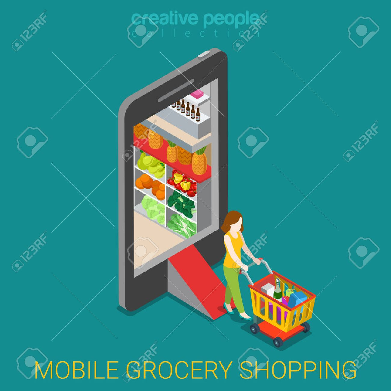 Mobile grocery shopping e-commerce online store flat 3d web isometric infographic concept vector electronic business sales. Woman wheeled cart walk from market shop inside smartphone. - 56931482