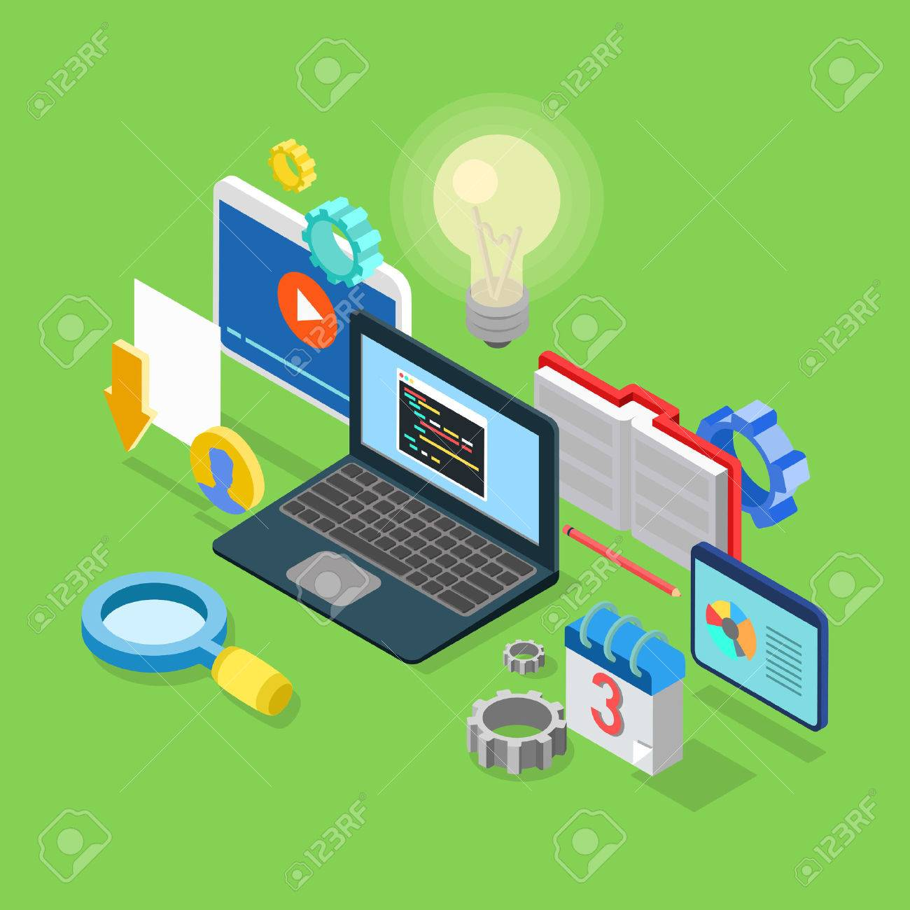 Flat 3d isometric application software coding development code flat 3d isometric application software coding development code programming process concept web infographics vector illustration ccuart Images
