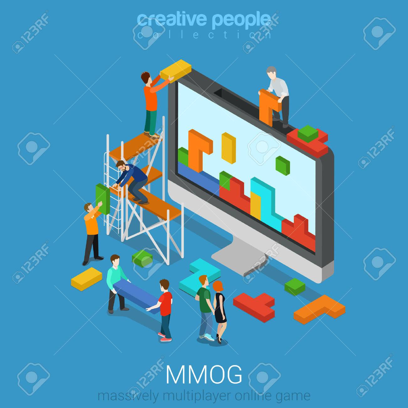 Flat 3d isometry isometric MMOG massively multiplayer online game gaming concept web infographics vector illustration. Big computer micro people play bricks. Creative people collection. Stock Vector - 56931494