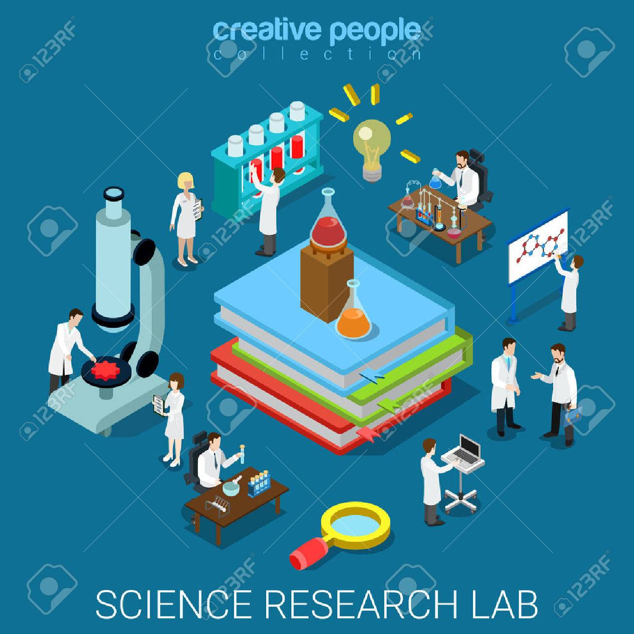 Flat 3d isometric style science chemical pharmaceutical research lab concept web infographics vector illustration. Big books flask tube and scientists. Creative people website conceptual collection. Stock Vector - 56931525