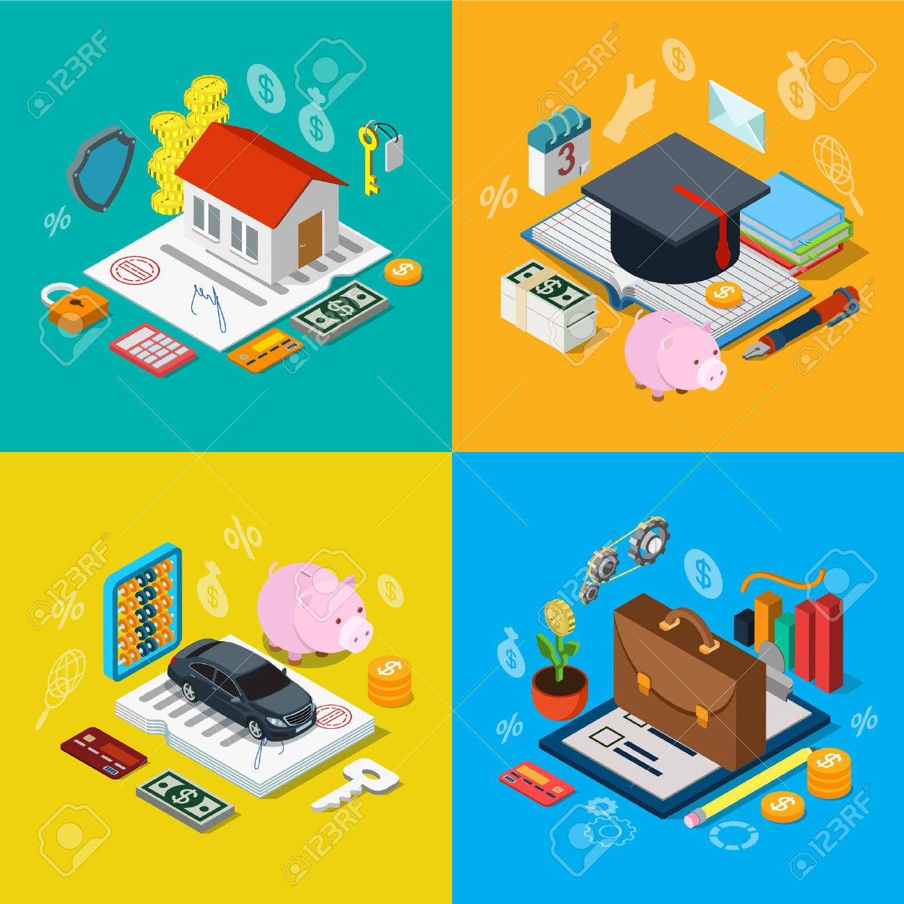 Flat 3d isometric home mortgage tuition fee credit car loan plan equity stock exchange portfolio icon set concept web infographics vector illustration. Financial banking knowledge education estate Stock Vector - 56931549