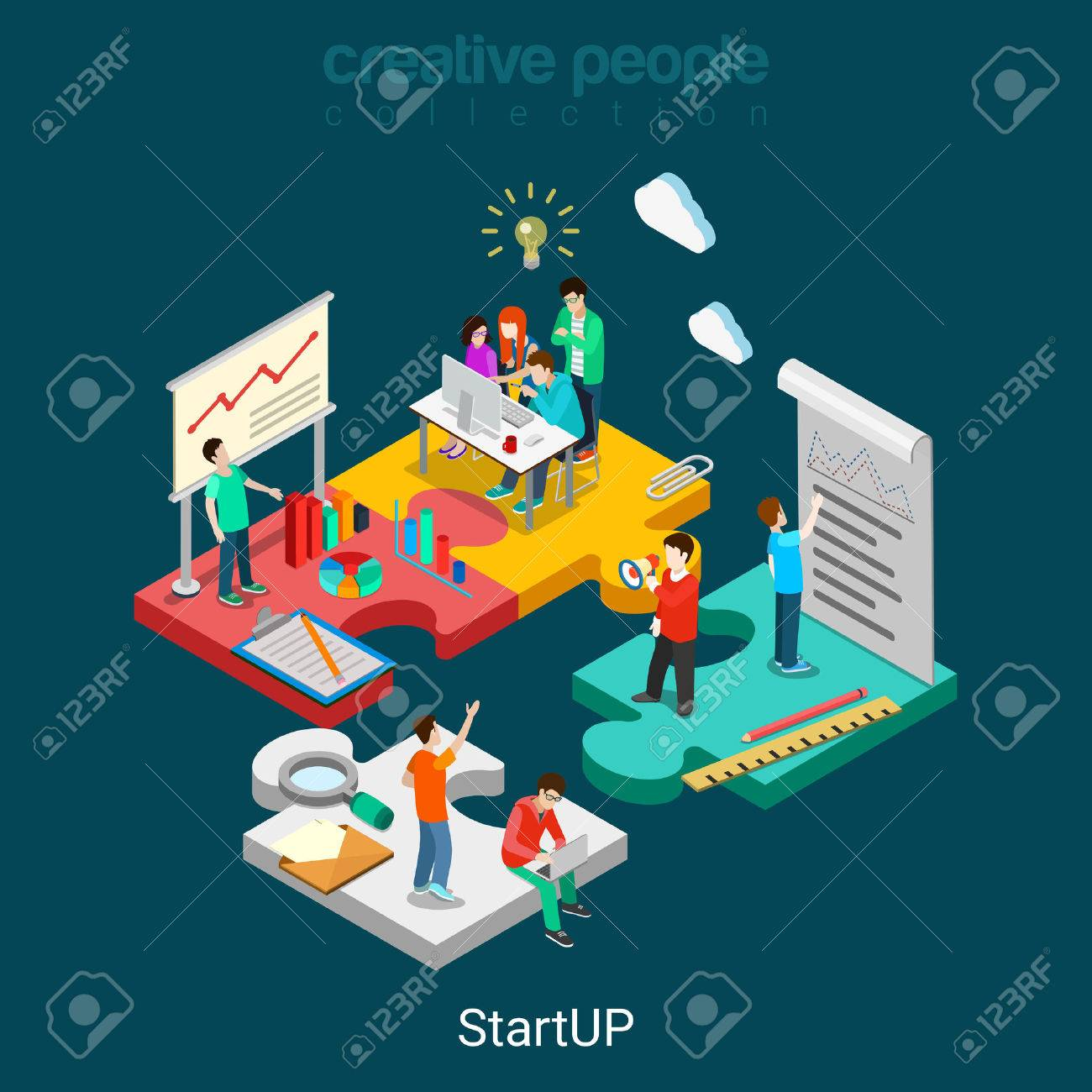 Flat 3d isometric StartUP concept web infographics vector illustration. Puzzle solution idea research report team business planning. Creative people collection. - 56931594