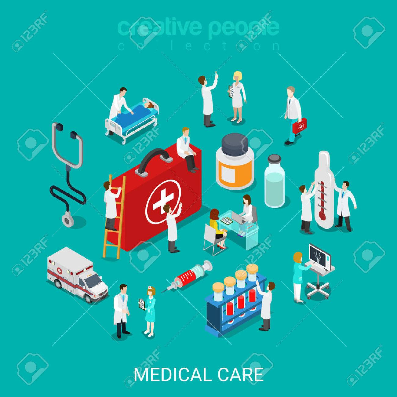 Flat 3d Isometric Medical Services Doctor Nurse First Aid Kit Royalty Free Cliparts Vectors And Stock Illustration Image 56931604